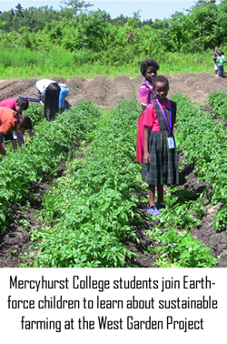 Mercyhurst College students join Earthforce children learning sustainable farming at the West Garden